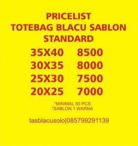 HARGA TA BLACU SABLON 1 WARNA STANDARD